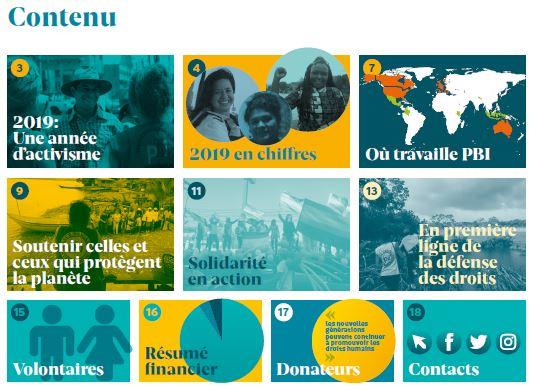 PBI Rapport annuel international 2019 - contenu